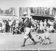"""Ma"" Dunning's pet sheep on parade :: Ellensburg Heritage"