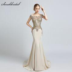 90532b45aa9 Robe De Soiree 2018 Neuheiten Luxus Elegante Lange Meerjungfrau Abendkleider  Satin Party Kleider Formale Vestido De