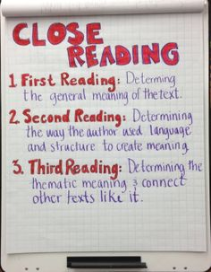 Close Reading chart. Blog entry to go with it!