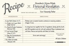 Recipe for Revelation - use for my Personal Revelation study I want to do! --LO