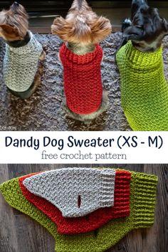 Crochet Dog Sweater Free Pattern, Crochet Dog Patterns, Knit Crochet, Crochet Hats, Blanket Crochet, Crochet Stitches, Crochet Ideas, Knit Dog Sweater, Free Crochet Patterns For Beginners