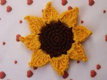 Sonnenblume gehäkelt - Applikation
