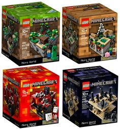 All 4 Minecraft Lego Sets 21102 21105 21106 21107