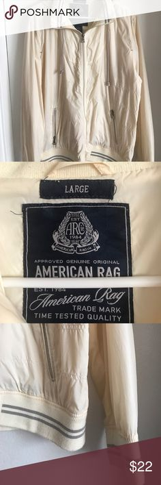 American Rag rain jacket Great rain jacket from American Rag. It's very stylish and keeps you dry even when it rains 🐈 and 🐶. It matches with a lot of stuff and can be worn when it's windy or simply a nice fall day. Worn only a few times. American Rag Jackets & Coats Raincoats