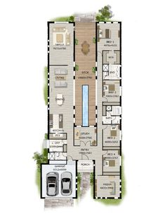 Modern-Narrow-Block-House-Designs-Floor-Plan-Four-Bedrooms