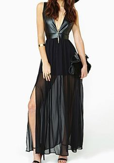 Black Deep V Neck Contrast PU Leather Chiffon Dress