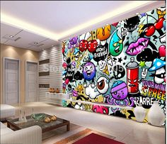 Custom baby wallpaper colorful graffiti 3d wallpaper for kids room children's rooms living room backdrop PVC papel de parede