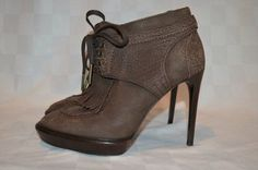 """Sz 37.5-7 Burberry Brown Leather Lace Up Prorsum Ankle Shoe Boots 4.5"""" Heels #Burberry #FashionAnkle"""