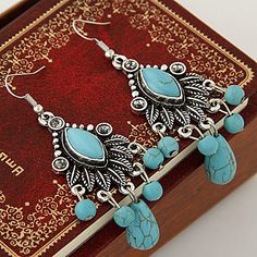 Vintage style light blue rhinestone silver plated hook earrings