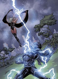 Storm Vs Black Panther by Tom Raney