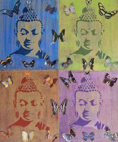 "FOUR BUTTERFLY BUDDHAS -- Original Art, Acrylic, Gold Leaf, Metallic Foil, Wall Art, Blue, Green, Bronze, Purple and Gold, 20"" x 24"""