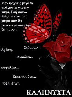 Καληνύχτα αγάπη μου....σ' ευχαριστώ...είσαι η ανακούφιση μου...ήταν λίγο κουραστική η σημερινή μέρα...αύριο έχω γράψιμο...και θα μείνω σπίτι...σ' αγαπώ μωρό μου!Α! Good Night Messages, Good Night Quotes, Beautiful Pink Roses, Good Night Sweet Dreams, Greek Quotes, Picture Quotes, Good Morning, Thoughts, Cards