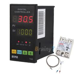 Dual Display Digital PID Temperature Controller w/ 6Ft Thermocouple 25A Relay