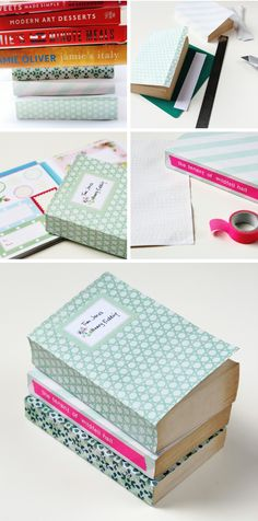 How to make Diy Scrapbook Paper Book Covers - I wish I still had my massive scrap book paper stash from Australia... I often buy ultra cheap books from charity shops and markets and they aren't always in great condition - this is a gorgeous way to recover them and make the bookshelf look lovely!