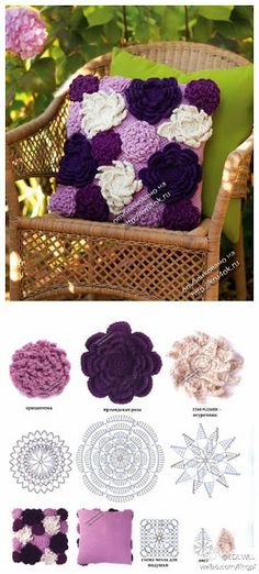 Crochet Flower Pillow I can do this Love Crochet, Irish Crochet, Crochet Flowers, Knit Crochet, Crochet Brooch, Crochet Stitch, Crochet Home Decor, Crochet Crafts, Crochet Projects