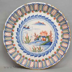 Fine Large Dutch Delft Charger Flowers 18th C Poly Goods Of Every Description Are Available Decorative Arts
