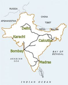 Early Railway lines in India under the British Raj. India Independence, Bhutan, World History, How To Run Longer, Afghanistan, Nepal, British, Map, Travel