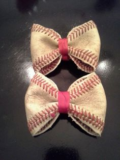 Homemade baseball bows made from real baseballs.