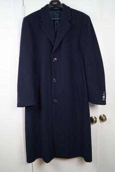 Ralph Lauren Mens 3/4 Dress Top Coat Overcoat Wool Navy Blue Mens 44L 44 Long #RalphLauren #BasicCoat