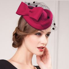 Fashion red pillbox hat with veil for women felt fascinator hats widding  wear e0e0e36ec40