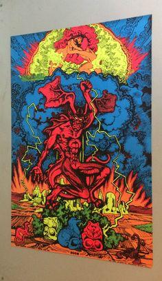 #Vintage psychedelic Houston black light poster Boom demon devil man #70s