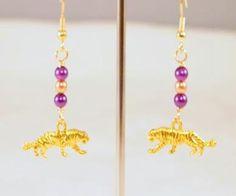 Tiger Earrings Pearls Charm Dangling Beaded Pierced by CKDesignsUS, $9.00