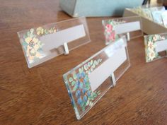 Vintage Crystal Floral Place Cards; Set of 8 Glass Place Cards; Easter Table; Hostess Gift; Housewarming Gift by PurpleMouseStories on Etsy