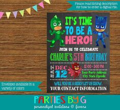 PJ Masks Chalkboard Birthday Party Invitations by PartiesByG