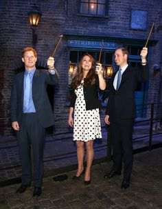 Prince Harry, Kate Middleton, and Prince William play Harry Potter on April 2013.