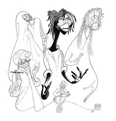NEW YORK – A new exhibition on caricaturist Al Hirschfeld begins with a video of Whoopi Goldberg talking about his wicked sense of humor. History Of Illustration, Russian American, Whoopi Goldberg, Ink Pen Drawings, Latest Wallpapers, Guys And Dolls, Felder, Black And White Portraits, Illustrators
