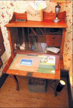 The writing desk where Laura Ingalls Wilder penned many of the Little House books still sits in the Rocky Ridge Farm house: Mansfield, Missouri