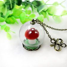 Woman Mushroom Long Necklace Glass Hood Jewelry Bowknot Pendant Chain Necklace
