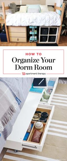 A Dozen Tips for a Super Organized Dorm Room. Need DIY ideas for organization and space saving storage in bedrooms for freshman year -- or all years of college? These tips are also great life hacks for apartments and other small spaces. College Dorm Organization, College Dorm Rooms, College Life, Dorm Room Desk, Organization Ideas, Organizing Dorm Rooms, Dorm Rooms Decorating, Diy Dorm Room, Dorm Desk Decor