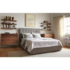 Bedroom - Room & Board warmth of wood helps with gray  I like the use of shelves to reduce storage on surfaces -- I know I like several books to read and they just seem to clutter up my bedside table