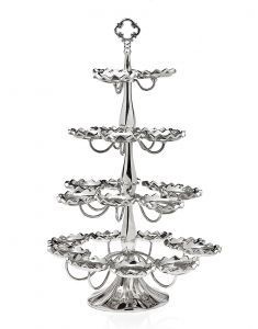 A chic display for your favorite sweet treats, this eye-catching metal cupcake tree showcases a silver finish and scalloped trim. Product: Cupcake treeConstruction Material: MetalColor: SilverFeatures: Holds 24 cupcakesDimensions: H x Diameter Cupcake Tree, Cake And Cupcake Stand, Kitchen Counter Storage, Kitchen Counters, Kitchen Dining, Fete Marie, Classic Cake, Tiered Stand, Party Entertainment