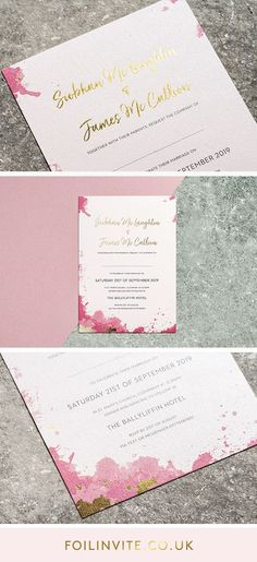Spring Wedding Ideas - Pink and Gold Wedding Invitations Wedding Stationery Uk, Luxury Wedding Invitations, Gold Invitations, Wedding Invitation Design, Pink Wedding Colors, Pink And Gold Wedding, Blush Pink Weddings, Gold Ink, Spring Wedding