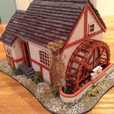 Finished 1/48 scale miniature water mill/ dolls house