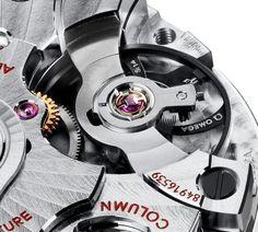 Omega Caliber 9300 silicon balance spring close up