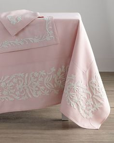 "Dori Pink Tablecloth, 108"" x 66""  at Horchow."
