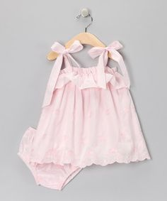 Take a look at this Pink Ruffle Shoulder-Tie Dress - Infant & Toddler by Fantaisie Kids on #zulily today!