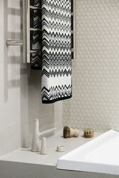 Waverley bathroom designed by Kate Connors and photographed by Craig Wall. Missoni towel on heated