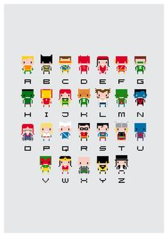 Superhero Alphabet Art Print