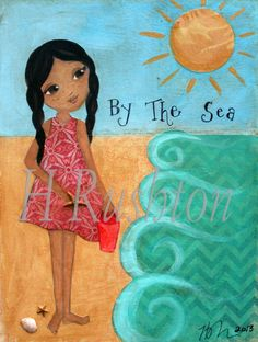 Beach Decor Girls Art Print Mixed Media Childrens by HRushtonArt, $18.00