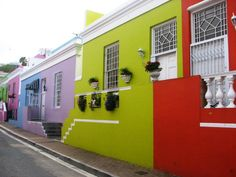 Photo about Perspective view of Bo Kaap district, Cape Town, South Africa. Image of africa, colorful, facade - 41380531 Cape Town South Africa, Table Mountain, Africa Travel, House Colors, Places To See, The Neighbourhood, Stock Photos, Traveling, Islamic Art