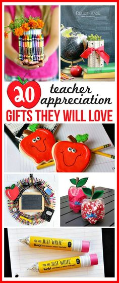 20 DIY Teacher Appreciation Gifts They Will Love- Show your kids' teachers how much they're appreciated with these DIY teacher appreciation gifts. Great for Teacher Appreciation Day, the start of a new semester, or the end of the school year! | homemade gift, handmade gift, DIY project, craft, fun teacher gift, Teacher's Day, presents for teachers