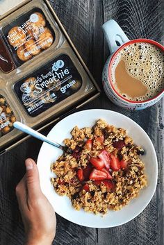 """""""i absolutely had to incorporate one of my favorite products into breakfast when my most recent box came - topped my yogurt with fresh…"""" Yummy Snacks, Yummy Food, Snack Brands, Real Food Recipes, Healthy Recipes, Clean Eating, Healthy Eating, Food Obsession, Health Snacks"""