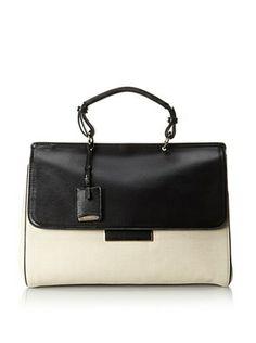 Jil Sander Women's Canvas & Leather Nefele Bag (Cream/Black)