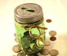 Green Mason Jar Piggy Bank Coin Bank from by organicmountainwoman, $13.00