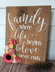 Family Where Life Begins/Wood Sign/Home Decor/Rustic Decor/felt flower/Reclaimed wood
