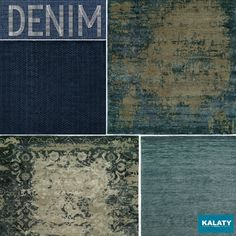 The Denim Effect From inky midnight blues to faded blue-jeans blues, shades of indigo and denim are more popular than ever … currently one of the hottest-coolest fashion hues on the homefront.  Here are just a few of Kalaty's newest area rugs in stylish shades of blue.